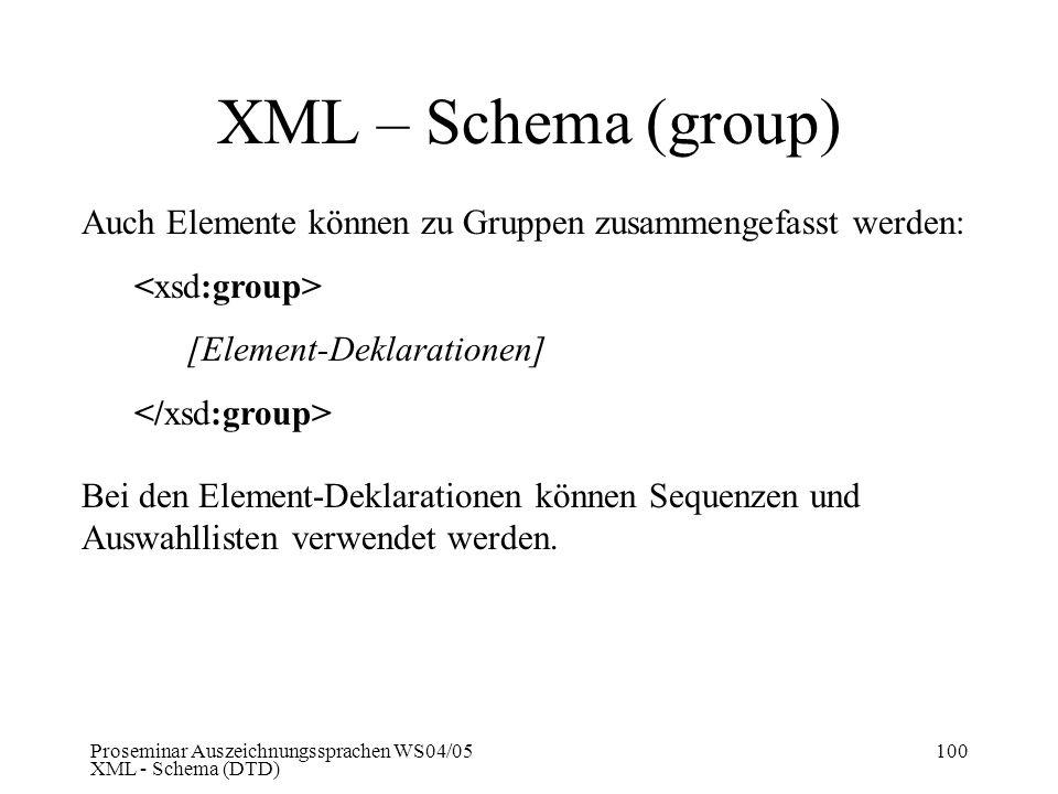 XML – Schema (group) Auch Elemente können zu Gruppen zusammengefasst werden: <xsd:group> [Element-Deklarationen]